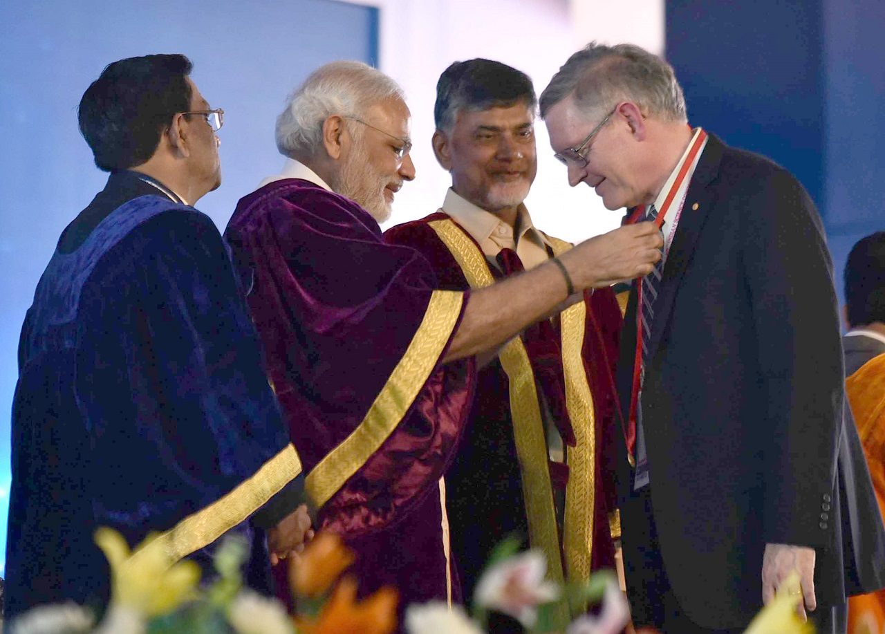 Hon'ble PM, Shri Narendra Modi felicitates the Nobel laureates at the 104th Indian Science Congress, at Tirupati
