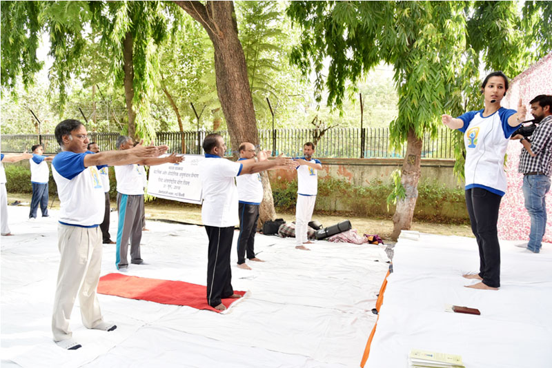 SECRETARY, DST DOING YOGA ON 21ST JUNE, 2018 AT DST PREMISES