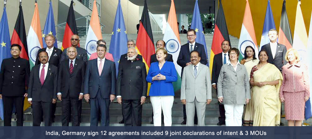India, Germany sign 12 agreements included 9 joint declarations of intent & 3 MOUs