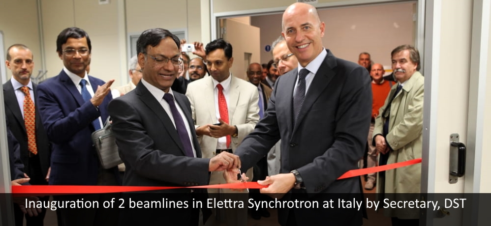 Inauguration of 2 beamlines in Elettra Synchrotron at Italy by Secretary, DST