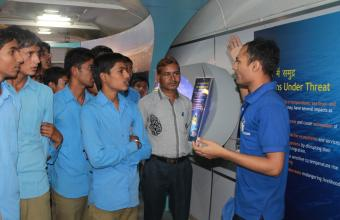 Science Communicator showcasing knowhow of Ocean Technology to school students and teachers