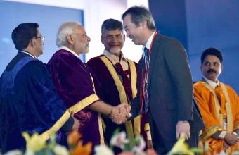Hon'ble PM, Shri Narendra Modi felicitates the Nobel laureates at the 104th Indian Science Congress, at Tirupati