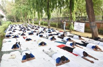 PARTICIPANTS DOING YOGIC EXERCISES ON 21ST JUNE, 2018 AT DST PREMISES