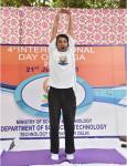 SHRI SHUBHAM SINGH OF THE ART OF LIVING, DEMONSTRATING YOGIC MUDRA ON 21ST JUNE, 2018 AT DST PREMISES